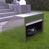 Robotic lawn mower shelter with roller shutter in white