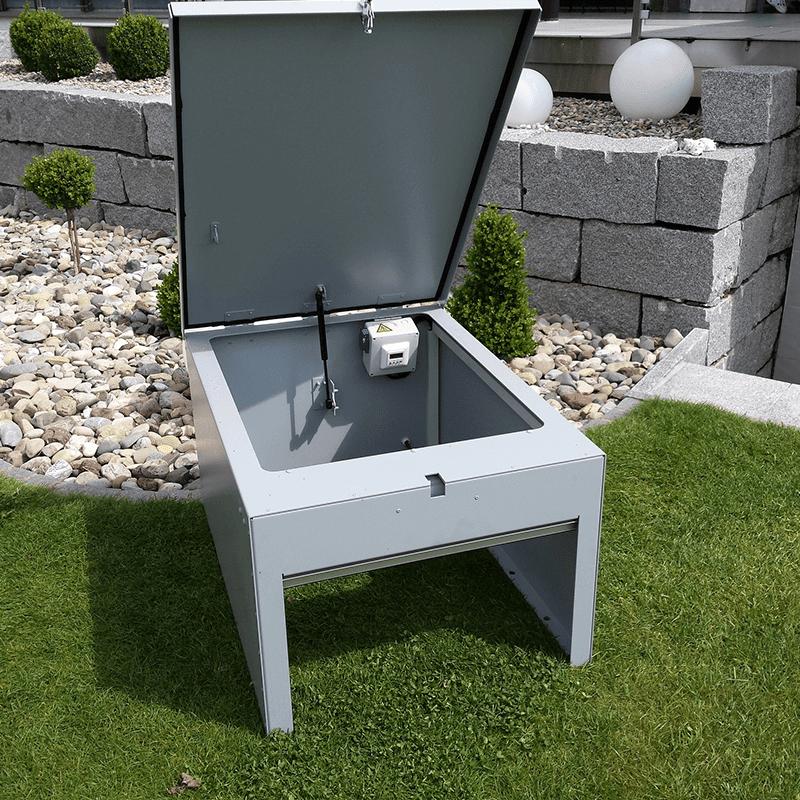 White lacquered aluminium roller shutter robot lawn mower shelter