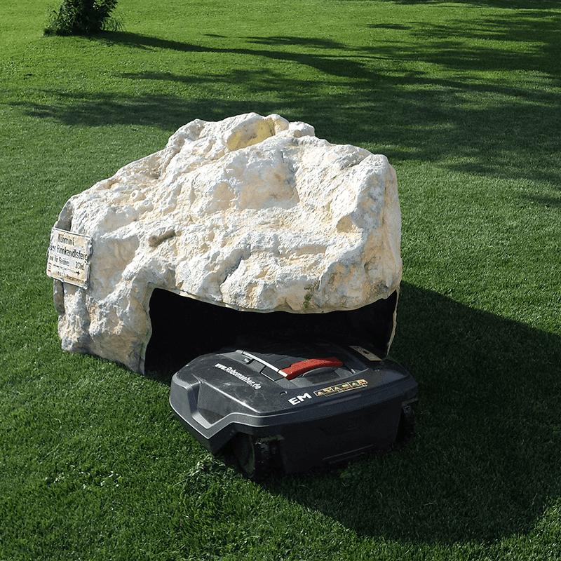 Abri rocher pour robot tondeuse